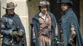 Tom Burke, Santiago Cabrera and Howard Charles in The Musketeers