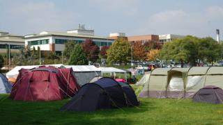 Protest camp outside County Hospital