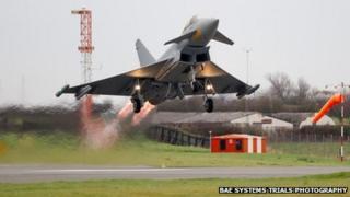 Aircraft taking off at Warton