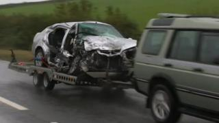 Car involved in crash removed