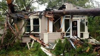 Crushed home in Monroe in Louisiana