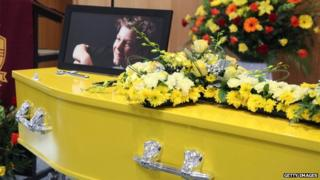 The coffin of 11-year-old Luke Batty at the funeral service for him at Flinders Christian Community College 21 February 2014 in Tyabb, Australia
