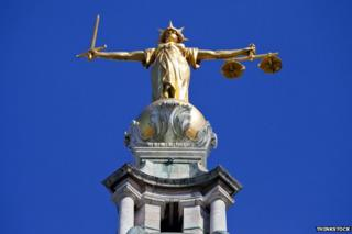 The scales of justice, atop the Old Bailey