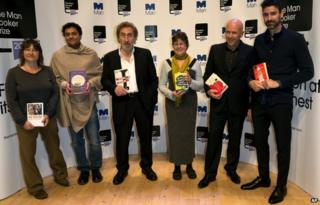 Booker authors (l-r): Ali Smith, Neel Mukherjee, Howard Jacobson, Karen Joy Fowler. Richard Flanagan and Joshua Ferris