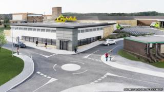 Artist's impression of the new helipad at Sheffield's Northern General Hospital