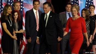 Republican presidential candidate, Mitt Romney, wife, Ann Romney, and family, walk off of the stage after conceding the presidency during Mitt Romney's campaign election night event at the Boston, Massachusetts 7 November 2012