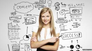 Woman with business plan behind her on whiteboard