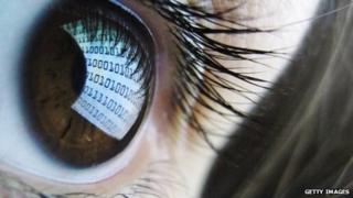 Data stream reflected in eye