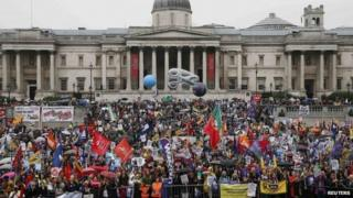 Striking public sector workers protest in Trafalgar Square in central London July 10, 2014