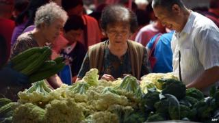 People buying vegetables in Beijing