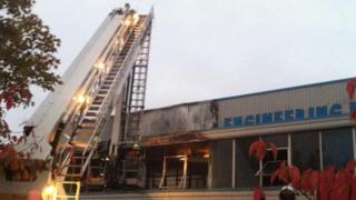 Fire engine at blaze