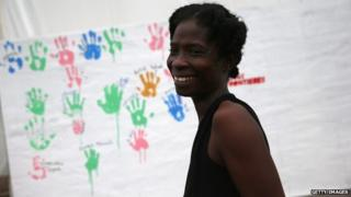 Ebola survivor Sontay Massaley, 37, after she was released from the Doctors Without Borders (MSF), treatment centre in Paynesville, Liberia on 12 October 2014