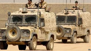 Army jeeps in Helmand