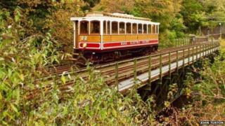 Manx Electric Railway tram crossing at Ballure Bridge