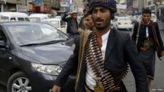 Houthi rebel fighter in Sanaa (15 October 2014)
