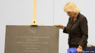 Duchess of Cornwall with plaque