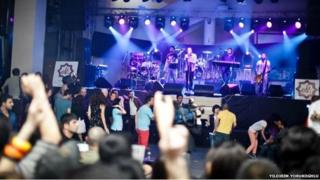 Young people at a concert in Azerbaijan