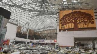 The city's airport has been damaged in the cyclone