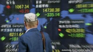 Share screen of Tokyo's Nikkei stock exchange