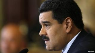 Nicolas Maduro gives a news conference at Miraflores Palace in Caracas on 15 October 2014