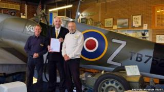 John Knott, volunteer, Ken Wills, chairman of the Spitfire Museum Trust and Gerry Abrahams, volunteer, in front of the museum's Spitfire