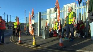 Striking refuse workers