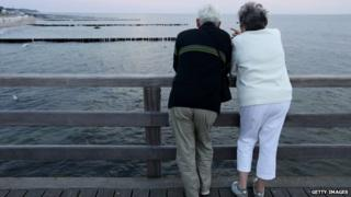 pensioners on pier