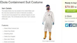 """A website selling an """"Ebola containment suit costume"""" for $79.99"""