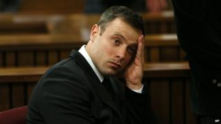Oscar Pistorius, gestures in the high court in Pretoria, South Africa on 16 October 2014