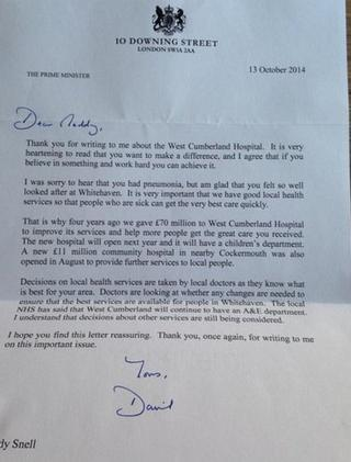 David Cameron's letter to Maddy Snell