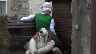 Wallace and Gromit scarecrows