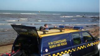 HM Coastguard staff at scene of incident