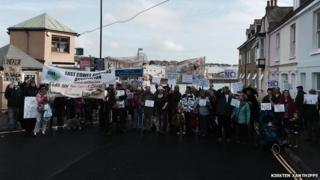 Chain ferry protest in Cowes
