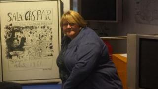 Alison Biggs with Picasso print