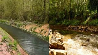 River Medlock before and after the restoration