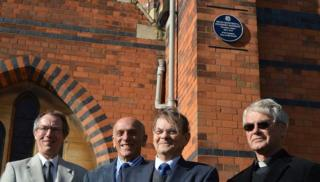 Nigel Studdert Kennedy (third from left) unveiled the plaque at St Paul's Church in Worcester