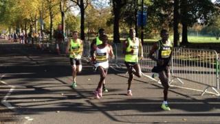 Elite runners leading the Great Birmingham Run