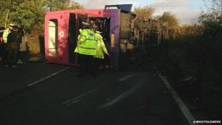 Overturned bus on St Albans Road