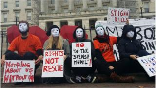 Sex workers protesting outside Stormont