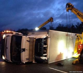 Overturned lorry on A1(M)