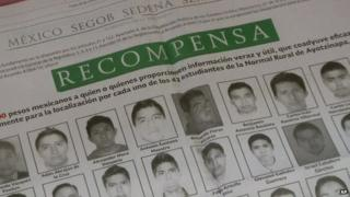 Picture of a newspaper advertisement offering a reward for information on 43 missing Mexican students on 20 October 2014