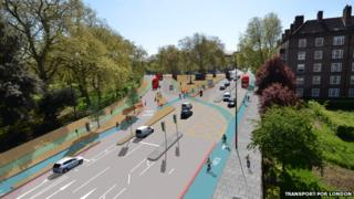 Artist's impression of proposed junction improvements at Kennington Park Road