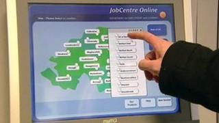 Job centre computer screen