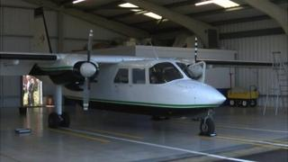 Temporary Islander plane used by Channel Islands Air Search