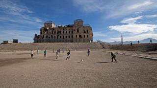 Nazes Afroz, Darul Aman - Children play football in what used to be the palace gardens