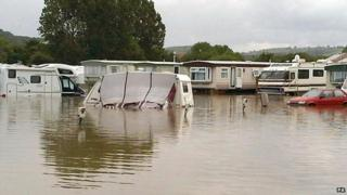 Flooding in Ceredigion caravan park
