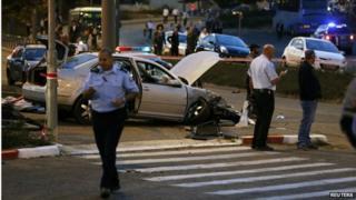 Scene of car attack in Jerusalem (22/10/14)