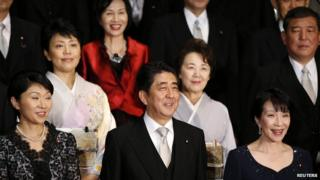 Prime Minister Shinzo Abe with female cabinet ministers