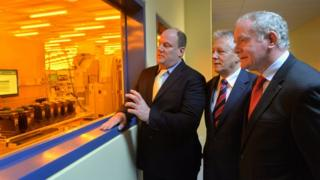 Peter Robinson and Martin McGuinness are pictured with Dave Mosley from Seagate