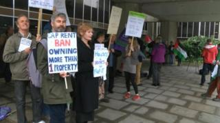 Campaigners outside council meeting
